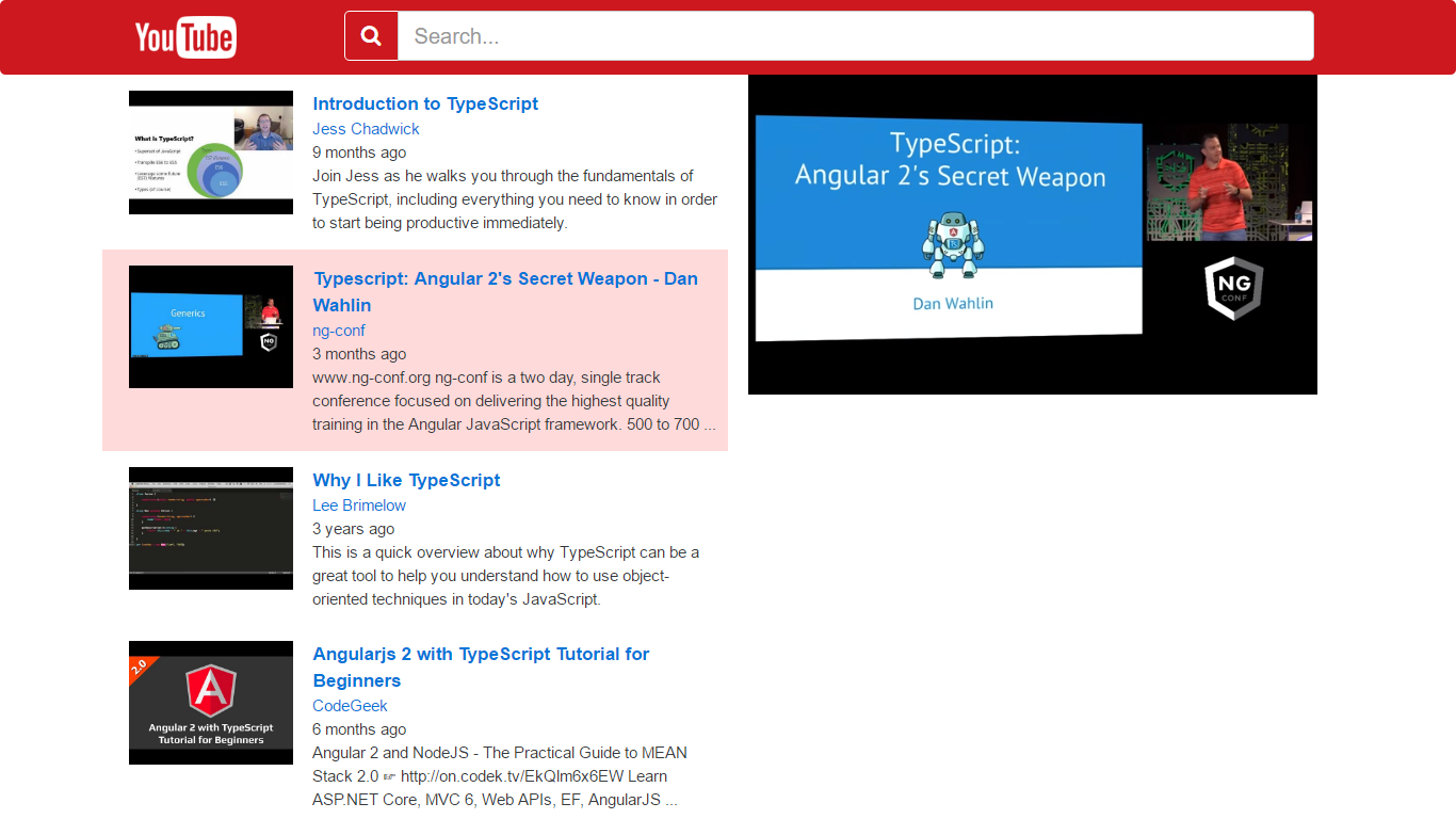YouTube App - Angular