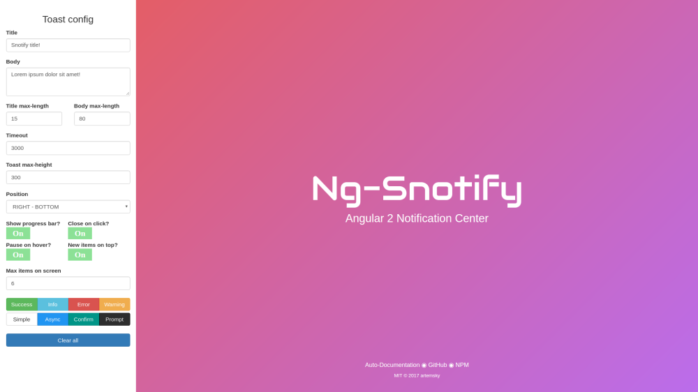 Snotify Notification Center - Angular