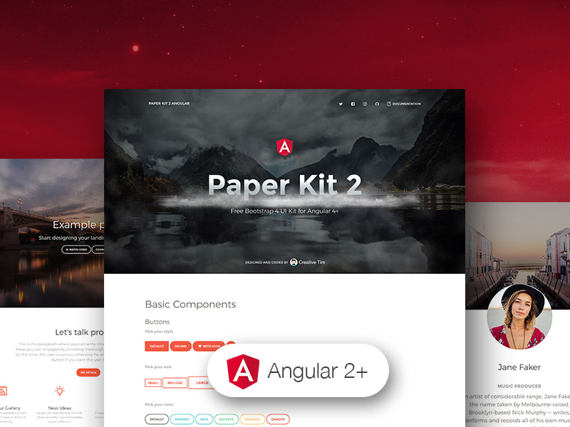 Paper Kit 2 Angular - Free and Open Source Angular 6 UI Kit